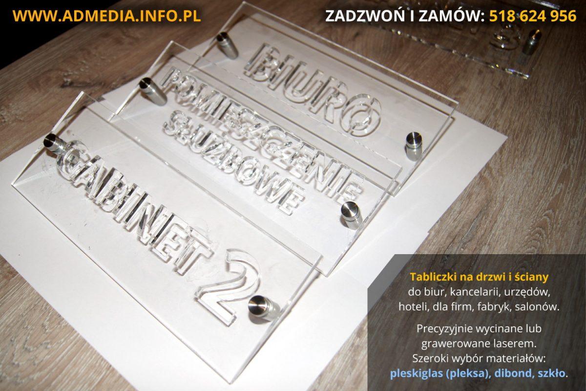 Tabliczki informacyjne na drzwi do biur, gabinetów i urzędów