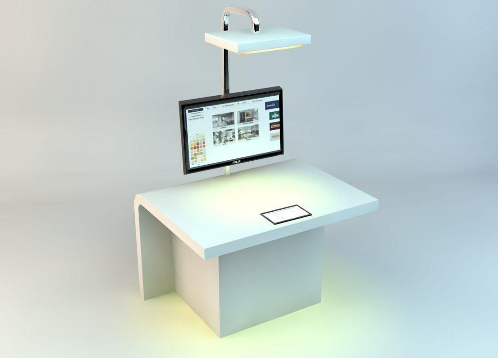 Stółmultimedialny oraz lampa ze zmiennąbarwą światła